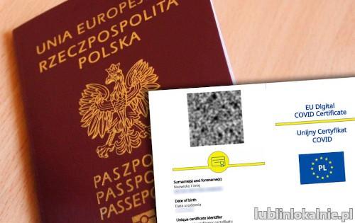 Zaświadczenie o szczepieniu Covid 19, Unijny Certyfikat Covid, Paszport, Negatywny test Covid